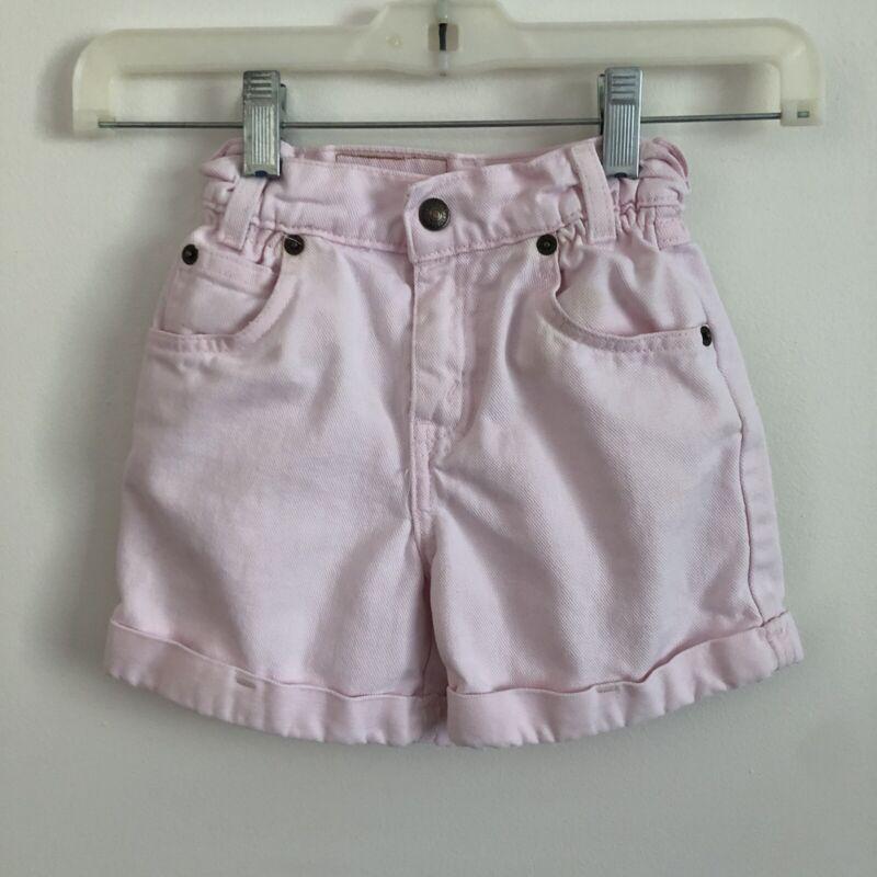 RARE Vintage Levi's White Tab High Waist Jean Shorts Size 4t Blush Pink 33642