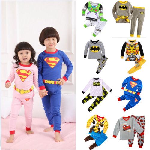 Kinder Baby Jungen Superhero Schlafanzug Pyjama Nachtwäsche T-shirt Top Hose Set