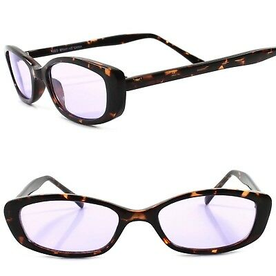 Classic True Vintage 90s Urban Fashion Tortoise Purple Lens Rectangle Sunglasses
