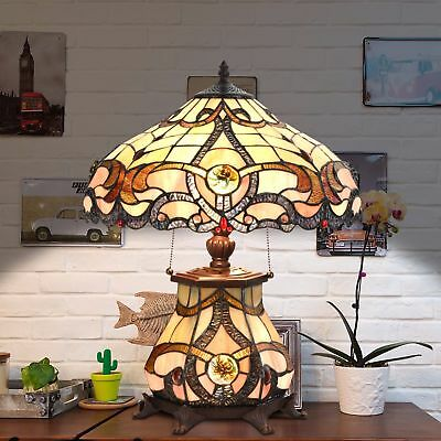 Tiffany Style Table Lamp Jeweled Desk Lamp Floral Stained