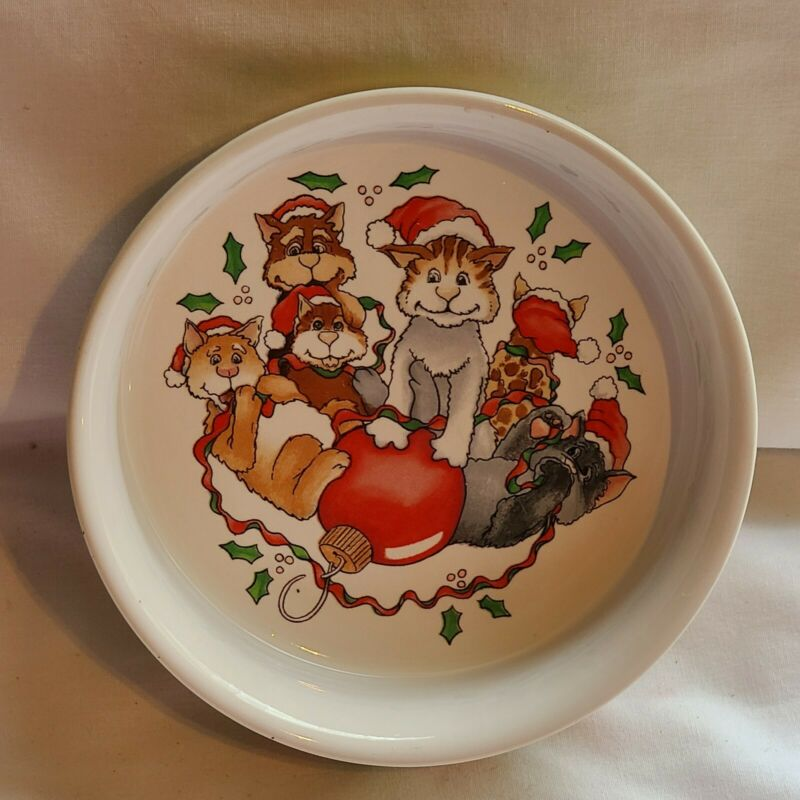 Vintage Cat Christmas Kittens Bowl Dish Designed by Audrey Heffier? Silvestri