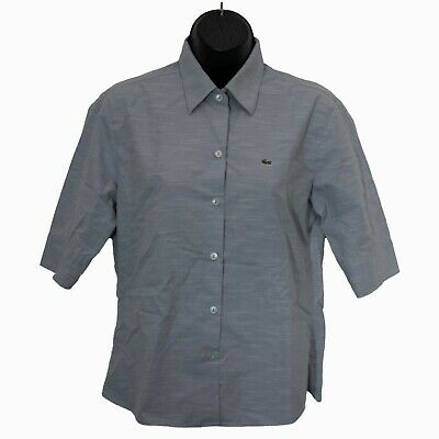 Lacoste Womens Button Down Shirt Gray Size 38 Blouse Top Short Sleeve