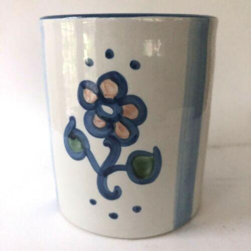 M.A. Hadley Pottery Flour Jar Cookies Ceramic Canister Blue Flower Vase Planter