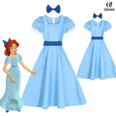 Peter Pan Wendy Darling Princess Blue Long Dress Cosplay Costume Adults / Kids](Peter Pan Female Costume)
