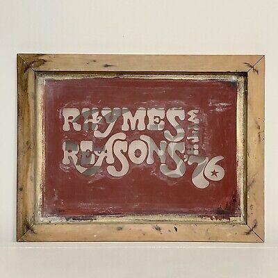 Vintage Wood Frame Screen Printing Screen 16.5 X 12.5 Rhymes With Reasons 76
