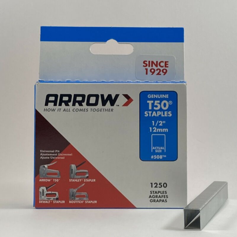 Arrow Fasteners Model T50 - 1/2 in. Steel Staples - 1250 Pack #508