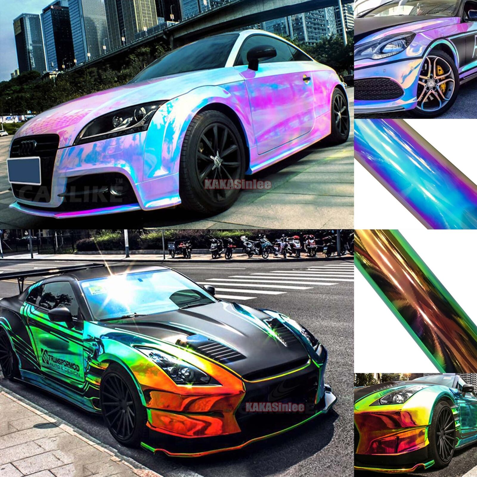 Chameleon 7 Tone Paint: New Glossy Rainbow Magic Mirror Chameleon Chrome Car Vinyl