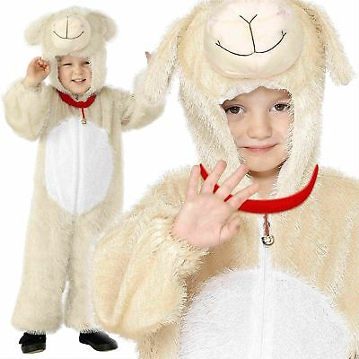 Kinder Lamm Einteiler Kostüm Overall Kostüm Tier Krippe Schaf Alter 4-9
