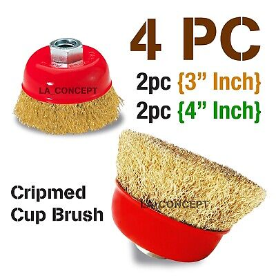 4 Pc Thread Wire Brush Wheel For 4-12 Angle Grinder Crimped Cup3 4 X 58