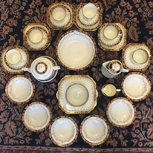 Antique Art Deco 30 Piece Gladstone Pottery English Bone China Breakfast Service