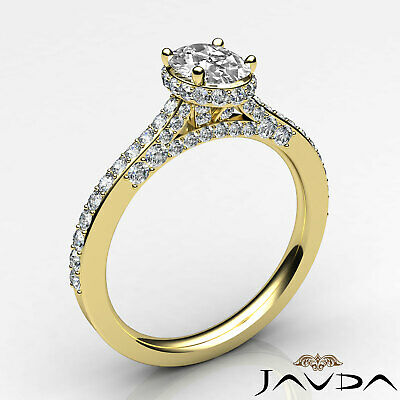 Circa Halo Bridge Accent Oval Diamond Engagement Pave Set Ring GIA F VS1 1.15Ct 8