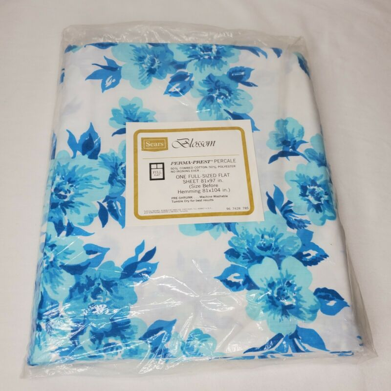 """Vintage NOS Percale Full Flat Sheet Blossom Blue Flowers New 81"""" x 97"""" Sears USA"""