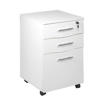 3 Drawer Lockable Filing Pedestal Office Furniture Under Desk Storage white