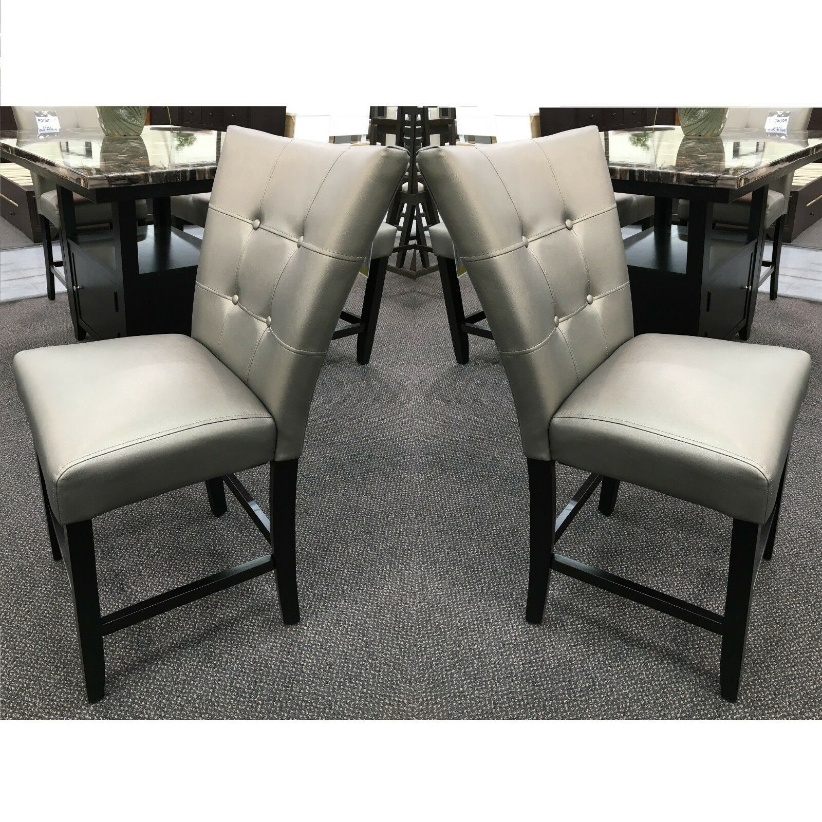 """Set of 2 - 24"""" Seat Height Faux Leather Dining Chair"""