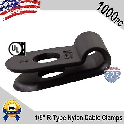1000 Pcs Pack 18 Inch R-type Cable Clamps Nylon Black Hose Wire Electrical Uv