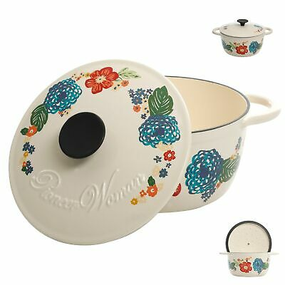 3 Quart Enameled Cast Iron Dutch Oven with Lid Floral Kitche
