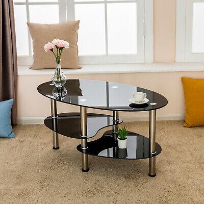 Oval Tempered Glass Side Coffee Table Chrome Bars w/Shelf Living Room Furniture ()