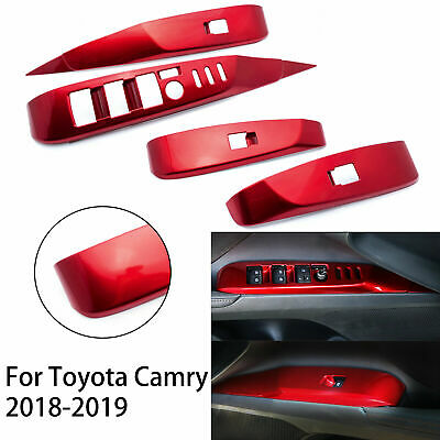 For Toyota Camry 2018-2020 RED ABS Inner Window Lift Switch Button Panel Trim