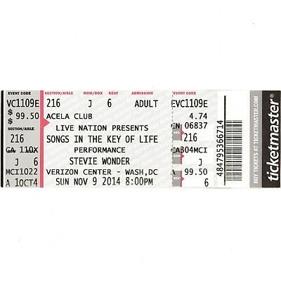 STEVIE WONDER Full Concert Ticket Stub WASH DC 11/9/14 SONGS IN THE KEY OF LIFE for sale  Shipping to United Kingdom