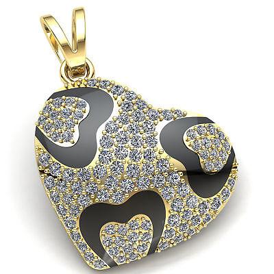 Genuine 3ctw Round Cut Diamond Ladies Floral Circle Pendant 18K Gold