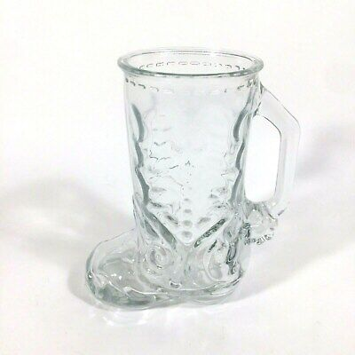 VTG Western Cowboy Boot Glass Cup Mug With Handle  6.5