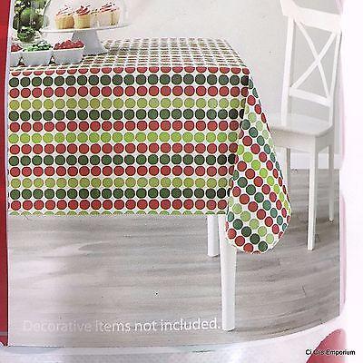 Christmas Polka Dot Vinyl Tablecloth Rectangle 60 x 84 Red Green Holiday Time (Red Polka Dot Tablecloth)