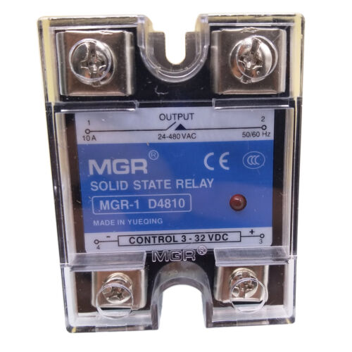 US Stock 10A Solid State Relay SSR DC-AC Input 3-32V DC Load 24-480V AC D4810