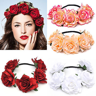 Bridal Rose Flower Princess Headband Wedding Prom Beach Floral Garland Hairband](Princess Headband)
