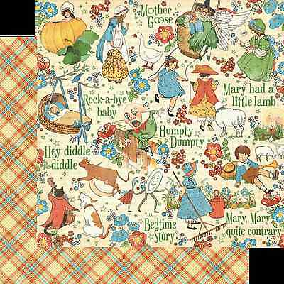 Graphic45 NURSERY RHYMES 12x12 Dbl-Sided Scrapbooking (2pc) Paper