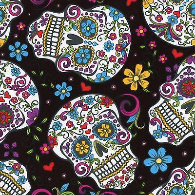 Fabric Day of the Dead Skulls & Zombies on Black Cotton By The 1/4 yard - Day Of The Dead Crafts