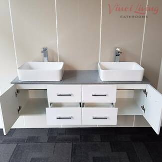 SALE! 1.5M Bathroom Vanity Unit Grey Stone Top Ceramic Basins