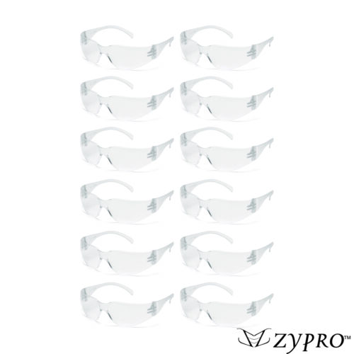 12 PAIR PACK Protective Safety Glasses Clear Lens Work UV Z87