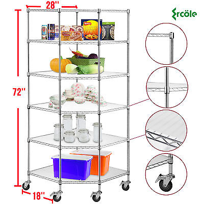 6-Tier Chrome Wire Shelving Rack Corner Unit Storage Adjustable Steel Shelf