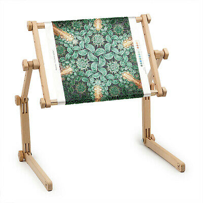Needlework Table and Lap Hands-Free Stand with Adjustable Frame Organic wood Cross Stitch Lap Stand