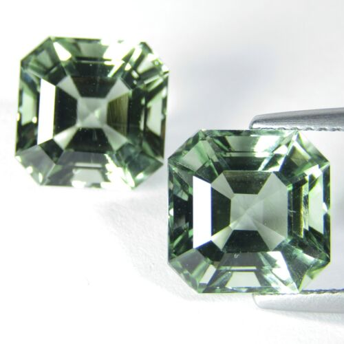 11.48Cts Natural Green Amethyst (prasiolite) Asher Cut Earring Collection VIDEO