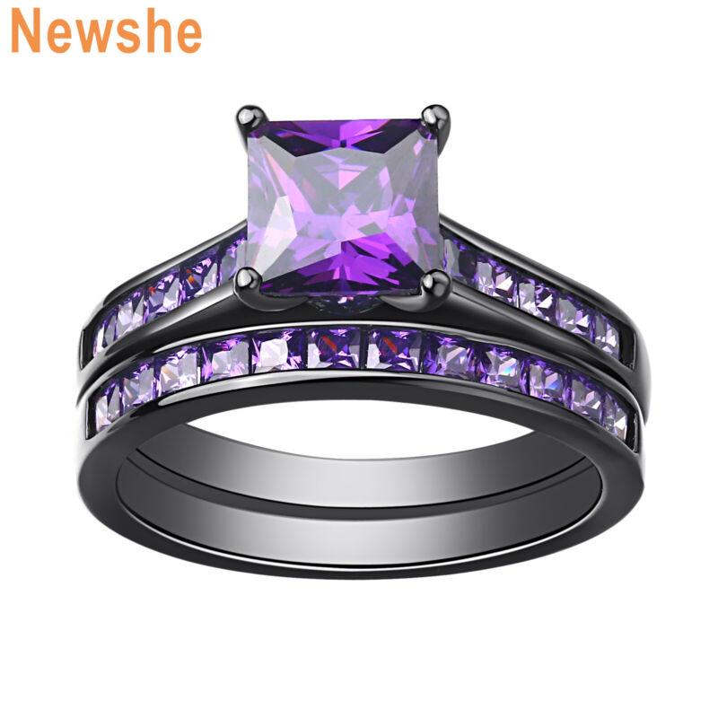 Newshe Wedding Engagement Ring Set 1.8ct Purple Princess Cz Black Plated Sz 5-12