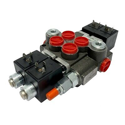 2 Spool Solenoid 12v Dc Hydraulic Control Valve Double Acting 13 Gpm 3600 Psi