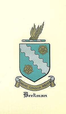 Great Coat of Arms Beekman Family Crest genealogy, would look great framed!
