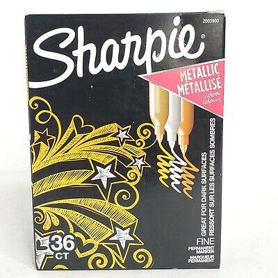Sharpie Metallic Permanent Markers Fine Point 36 Count Silver Bronze Gold