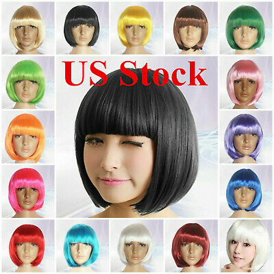 Women's Straight Short Bob Wigs Fancy Dress Cosplay Full Hair Pop Party Costume](Cosplay Female Costumes)