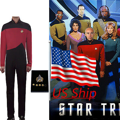 Star Trek TNG Jumpsuit Uniform Cosplay The Next Generation Red Costume Pin Set (Star Trek Tng Uniforms)
