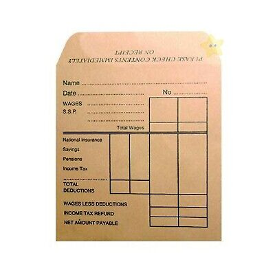500 x High Quality Paper Packet Brown Self Seal Printed Wage Envelopes