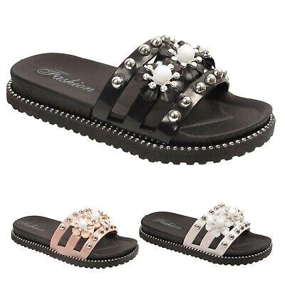 Girls Kids Slip On Sliders flower Mules Sandals Summer Flat Slippers Shoes Sizes ()