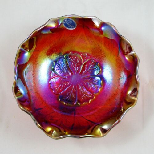 IMPERIAL IG RED CARNIVAL GLASS ACANTHUS BOWL