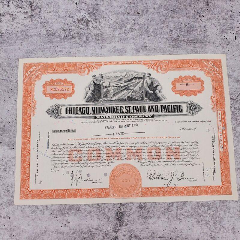 1969 Milwaukee Chicago Pacific 5 Share Railroad Stock Bond Certificate NC095572