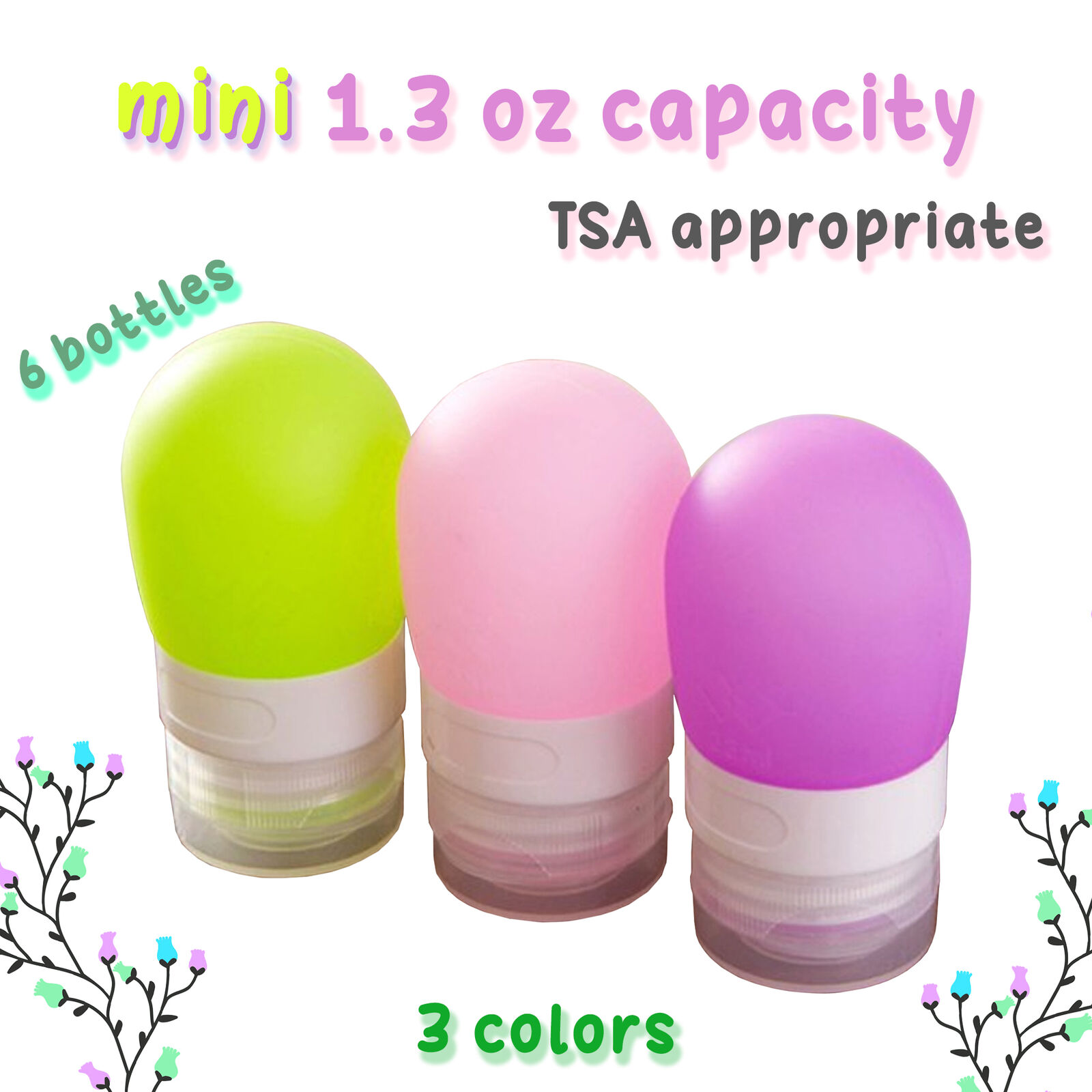 6pcs Squeezable Silicone Travel Refillable Bottles Set - 38m