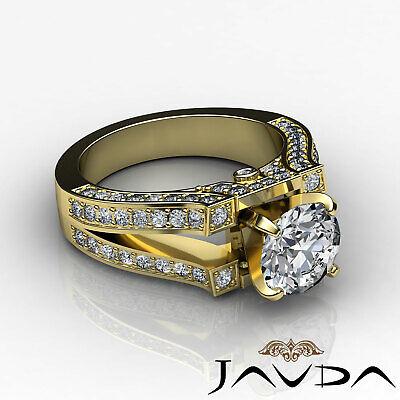 Split Shank Bezel Pave Setting Round Diamond Engagement Ring GIA F VS2 1.71 Ct 8