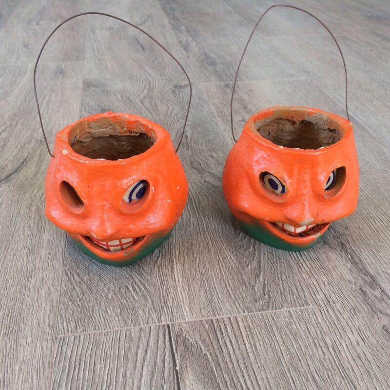 (2) Vintage Paper Mache Halloween Pulp Jack-o-Lantern Pumpkin Original Insert