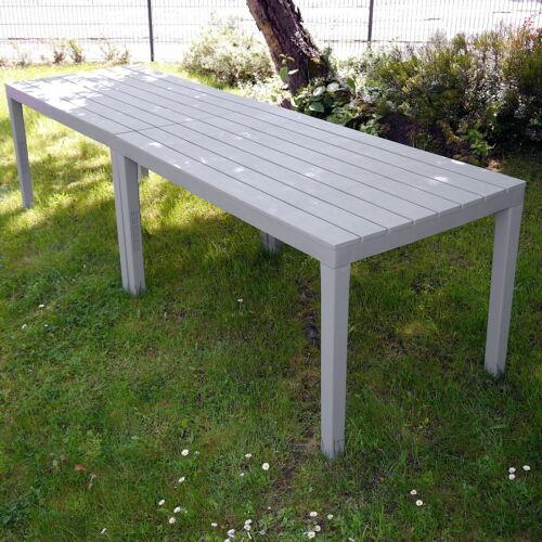 2 Stück Gartentisch je 138 x 80 cm groß Tisch Kunststofftisch Plastiktisch Grau