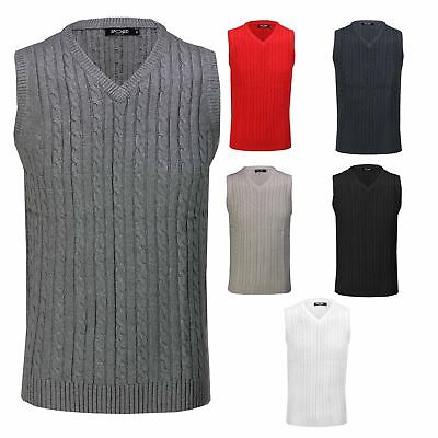 Mens Classic Cable Knitted Sleeveless V Neck Jumper Smart Casual Sweater Vest